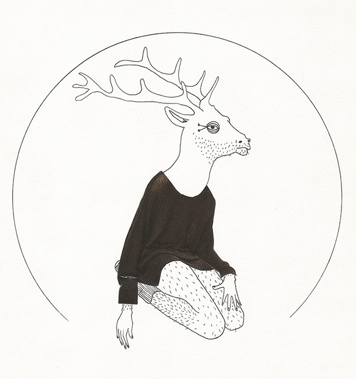 illustration, art, collage, deer - maf_pasteris | ello