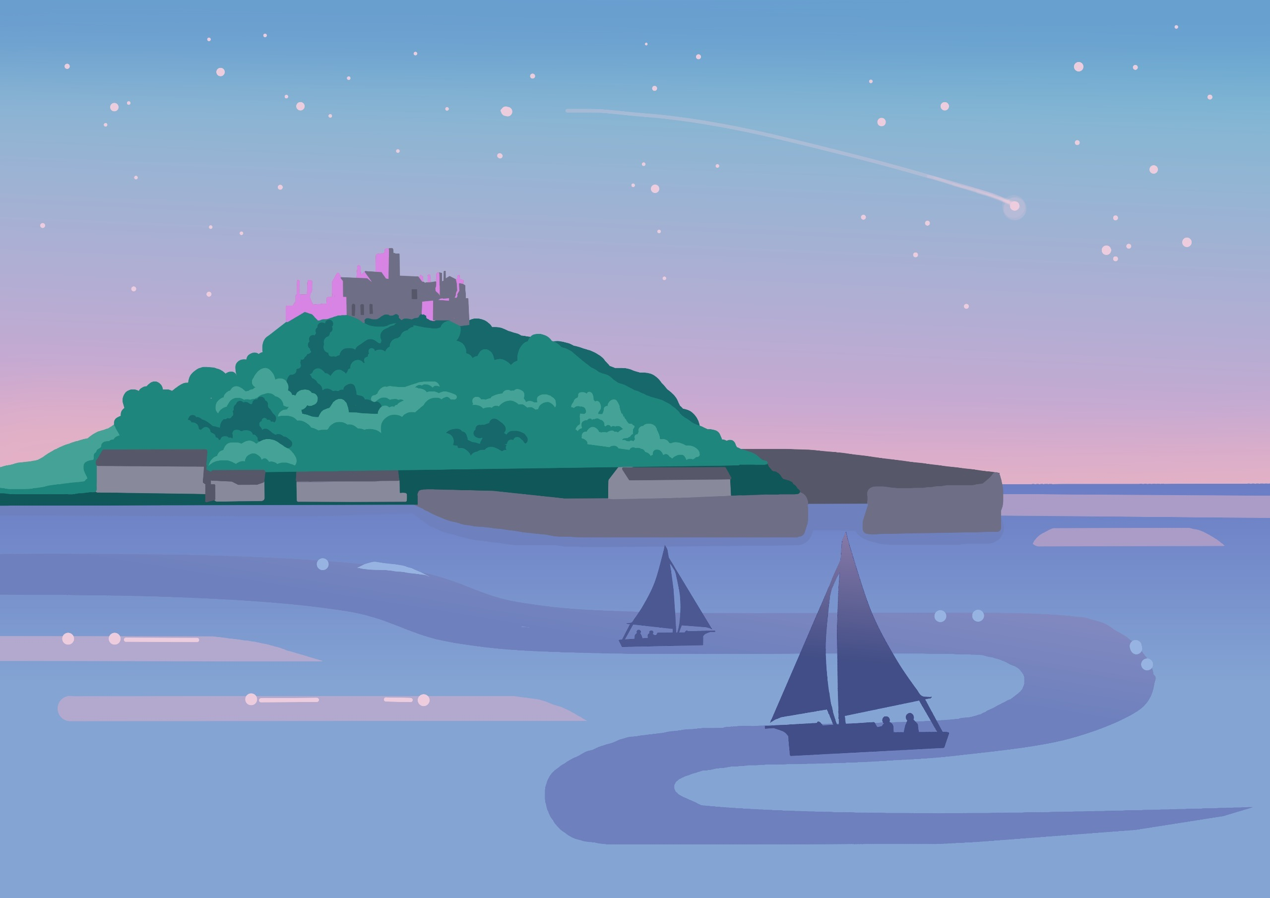 St Mount - cornwall, illustration - ambernillustrations | ello