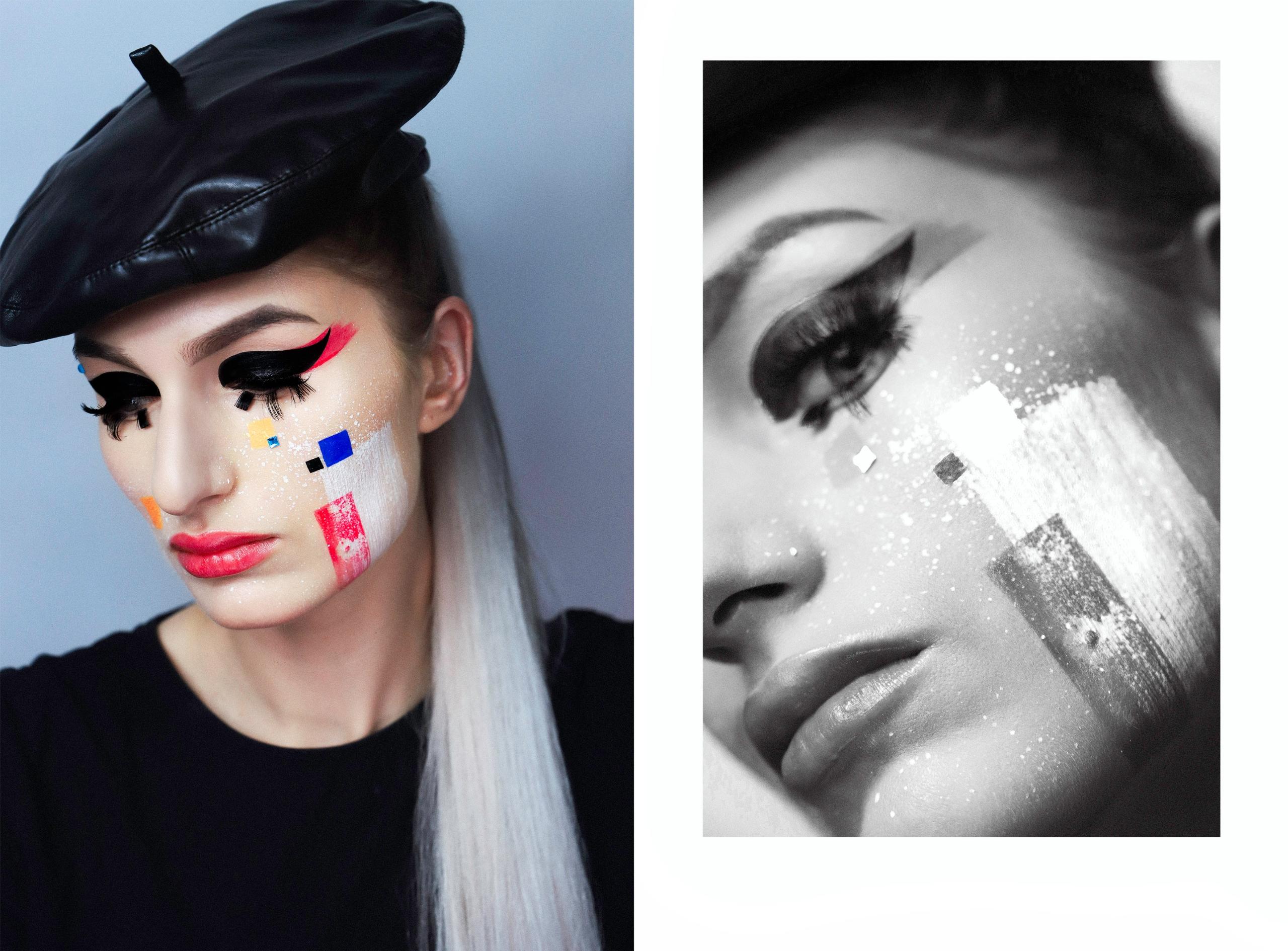 Obraz przedstawia dwa zdjęcia. Jedno z nich jest kolorowym portretem kobiety w czarnym berecie. Z lewej strony czarno-białe zbliżenie na twarz kobiety wpisane zostało w geometryczny kształt.