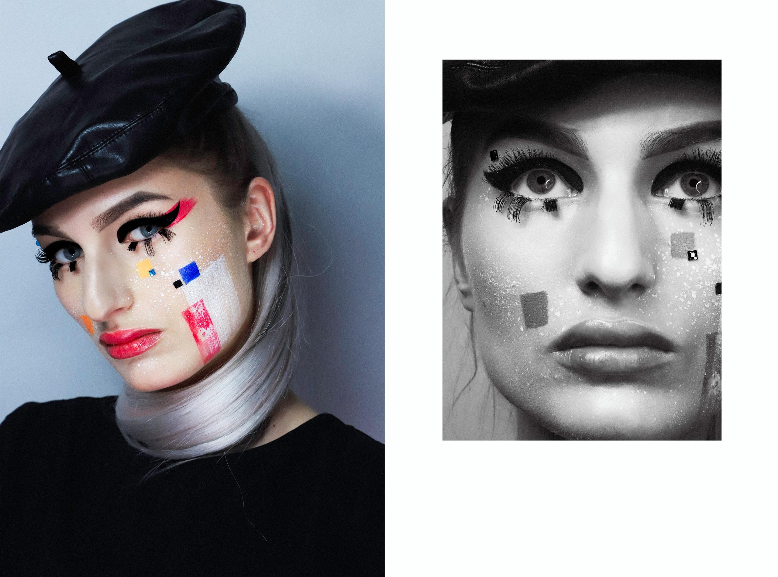 Obraz przedstawia dwa zdjęcia. Z lewej strony widzimy portret kobiety w czarnym berecie i artystycznym makijażu. Z prawej strony czarno-białe zdjęcie ukazuje jej twarz wpisaną w figurę geometryczną.