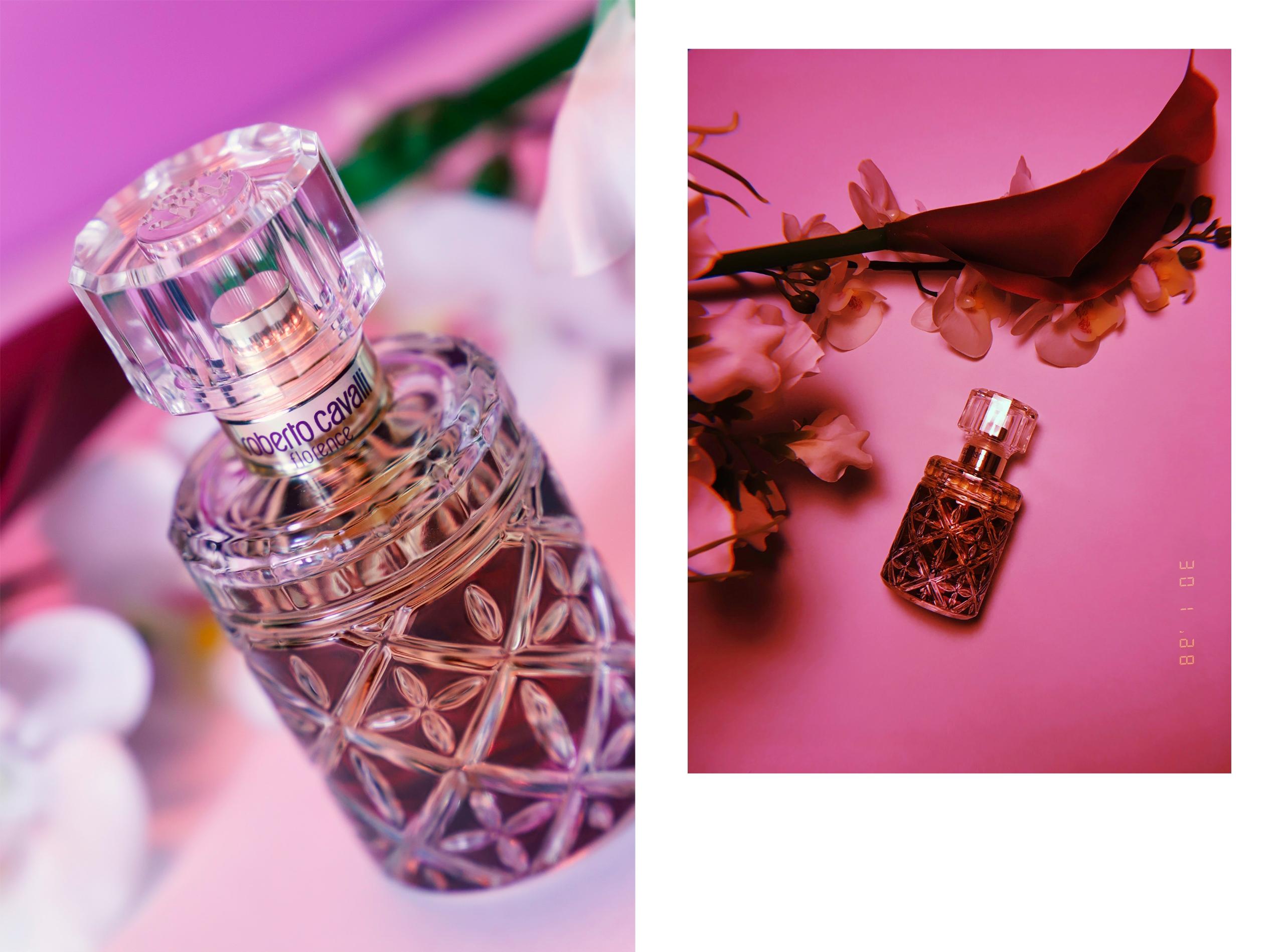 Obraz przedstawia dwa zdjęcia perfum w fioletowym otoczeniu.