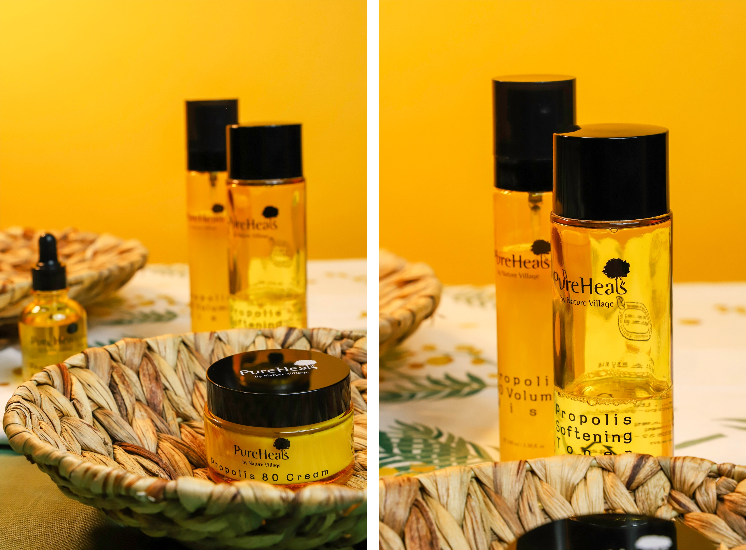 Obraz przedstawia dwa zdjęcia kosmetyków w żółtych buteleczkach na żółtym tle.