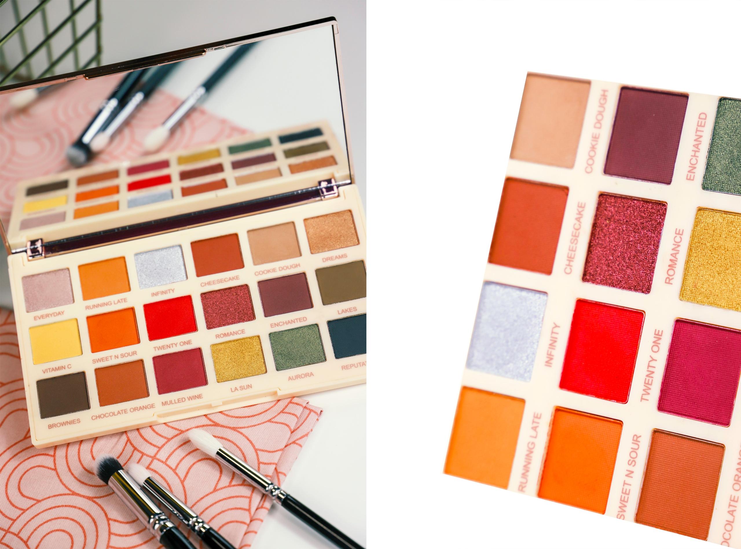 Obraz przedstawia dwa zdjęcia palety kolorowych cieni do powiek.